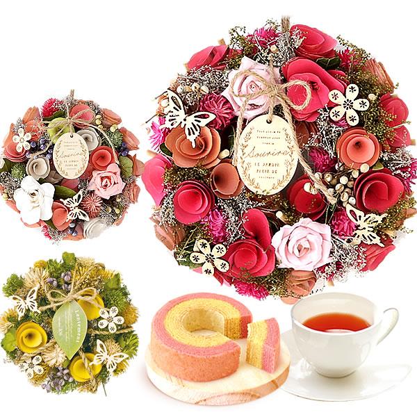 母の日のプレゼント 3フラワーリースSS&苺ミニバウム