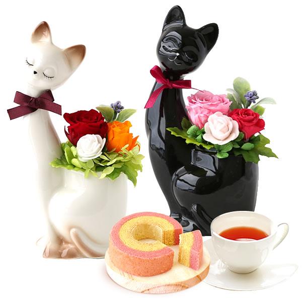 母の日のプレゼント エレガントキャットプリザ&洋菓子