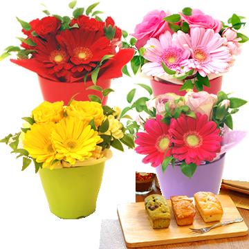 母の日のプレゼント 選べる4色♪生花アレンジメント&パウンドケーキセット