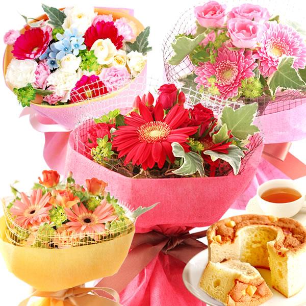 母の日のプレゼント 選べる4色♪アレンジ花束&シフォンケーキセット
