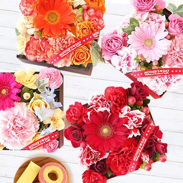 母の日のプレゼント 二段重BOX入り♪生花アレンジ&人気スイーツセット