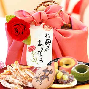 母の日のプレゼント 籠バックスイーツセット(ピンク/ありがとうのみ)