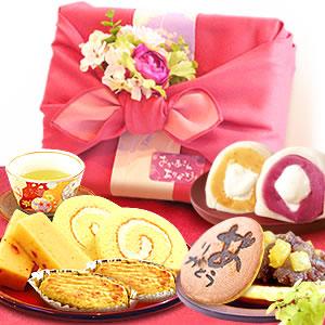 母の日のプレゼント 竹かご風呂敷+ブーケ