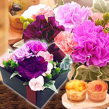 母の日のプレゼント ムーンダストBOXアレンジ&カップケーキ