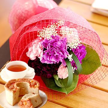 母の日のプレゼント ムーンダスト花束&シフォンケーキ