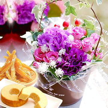 母の日のプレゼント ムーンダストカップアレンジ&スイーツセット