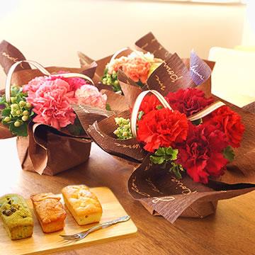 母の日のプレゼント ≪日比谷花壇≫カーネーションアレンジ&パウンドケーキ