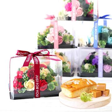 母の日のプレゼント シャボンフラワーミニケーキBOX&スイーツset